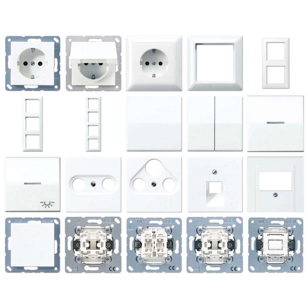 jung serie as500 alpinwei steckdosen rahmen schalter. Black Bedroom Furniture Sets. Home Design Ideas
