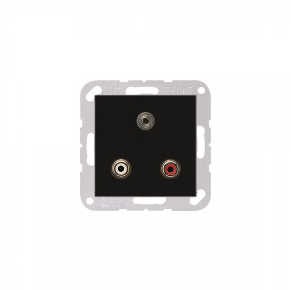 Jung MAA1011SW Multimediaanschlusssystem Cinch Audio und Miniklinke3,5mm schwarz