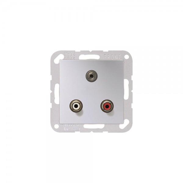 Jung MAA1011AL Multimediaanschlusssystem Cinch Audio und Miniklinke3,5mm aluminium