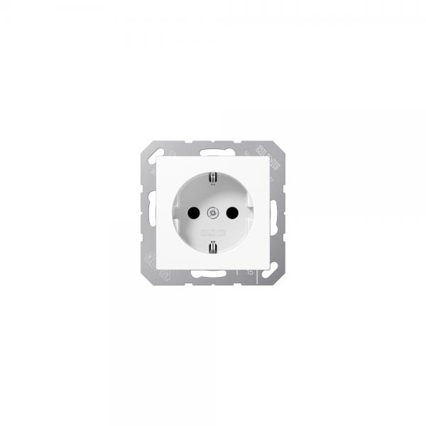 Jung A1520BFKIWW SCHUKO-Steckdose mit KS bruchsicher alpinweiß hochglänzend