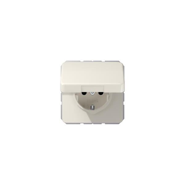 Jung CD1520BFKL SCHUKO-Steckdose mit Klappdeckel bruchsicher cremeweiß hochglänzend