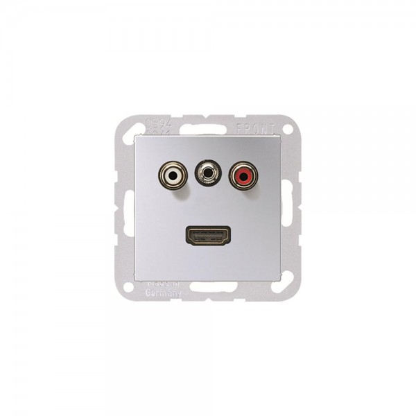 Jung MAA1082AL Multimediaanschlusssystem Cinch Audio, Miniklinke3,5 mm und HDMI aluminium