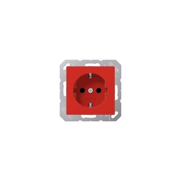 Jung A1520BFRT SCHUKO-Steckdose bruchsicher rot hochglänzend