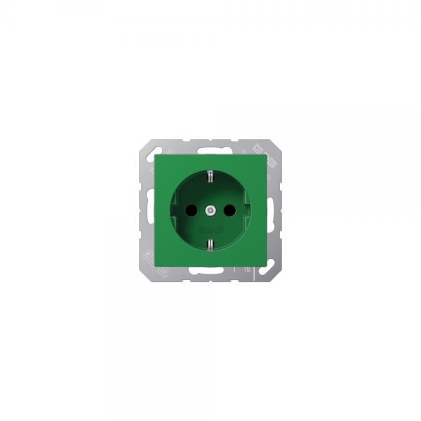 Jung A1520BFGN SCHUKO-Steckdose bruchsicher grün hochglänzend