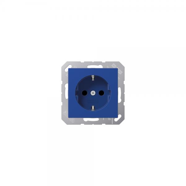 Jung A1520BFBL SCHUKO-Steckdose bruchsicher blau hochglänzend