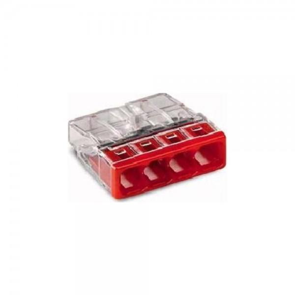 Wago 2273-204 COMPACT-Verbindungsdosenklemme 100 Stück transparent/rot