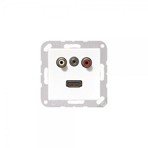 Jung MAA1082 Multimediaanschlusssystem Cinch Audio, Miniklinke3,5 mm und HDMI cremeweiß