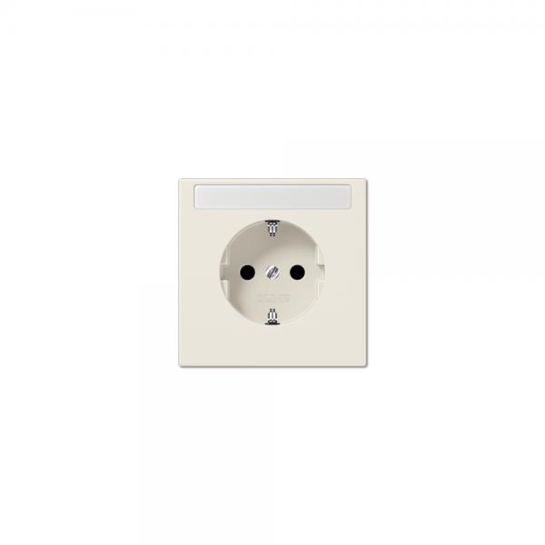 Jung LS1520NA SCHUKO-Steckdose mit Schriftfeld Serie LS cremeweiß