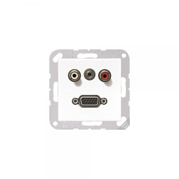 Jung MAA1072 Multimediaanschlusssystem Cinch Audio, Miniklinke3,5mm und VGA cremeweiß