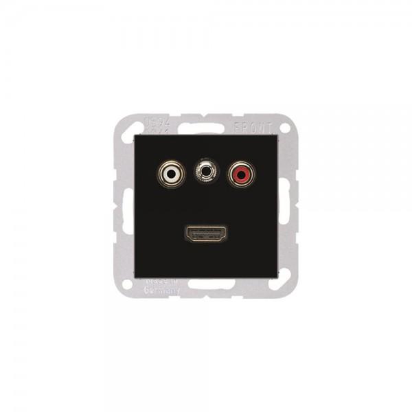 Jung MAA1082SW Multimediaanschlusssystem Cinch Audio, Miniklinke3,5 mm und HDMI schwarz