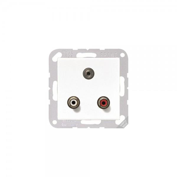 Jung MAA1011 Multimediaanschlusssystem Cinch Audio und Miniklinke3,5mm cremeweiß