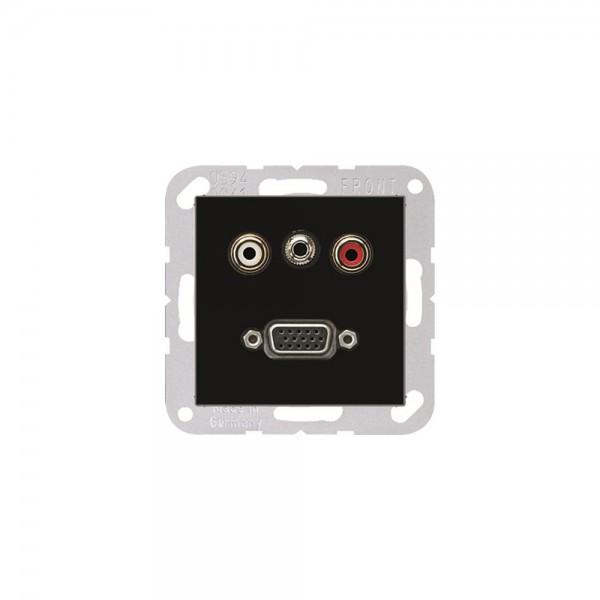 Jung MAA1072SW Multimediaanschlusssystem Cinch Audio, Miniklinke3,5mm und VGA schwarz