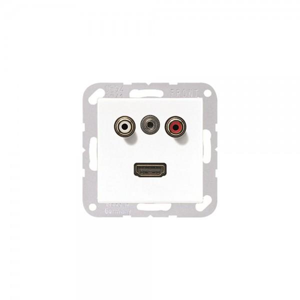 Jung MAA1082WW Multimediaanschlusssystem Cinch Audio, Miniklinke3,5 mm und HDMI alpinweiß
