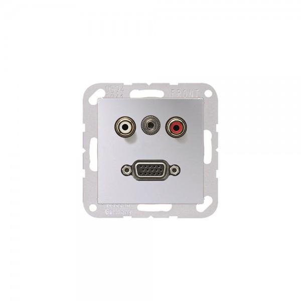 Jung MAA1072AL Multimediaanschlusssystem Cinch Audio, Miniklinke3,5mm und VGA aluminium